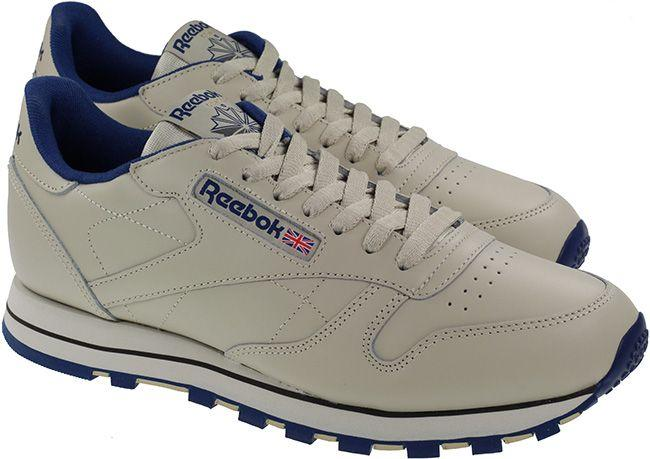 Reebok Trainers Mens Classic Leather Intense Ecru Navy
