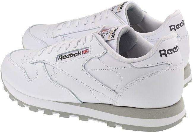 Reebok Trainers Mens Classic Leather White Light Grey