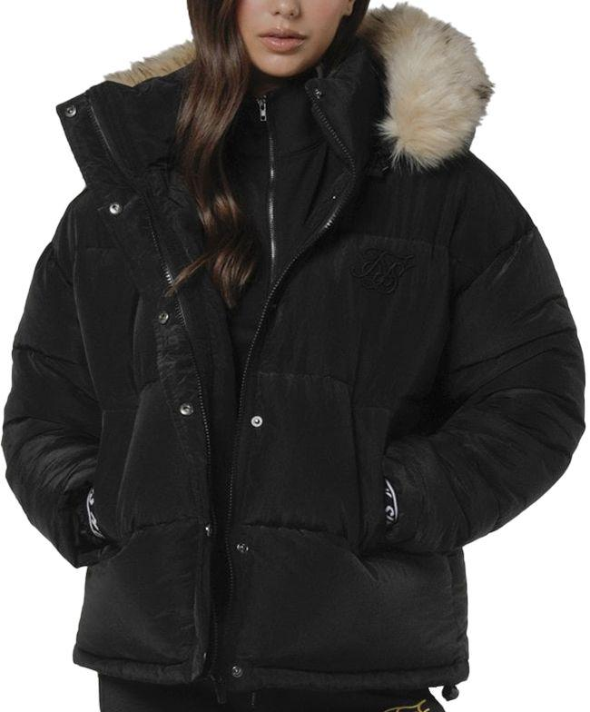 SikSilk Womens Short Parka Jacket Black