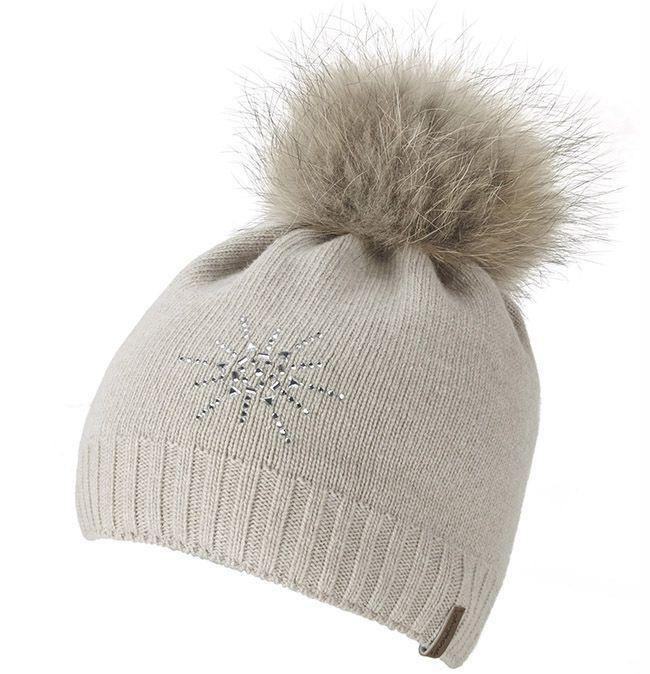 Manby Womens Ski Accessories Star Hat Oatmeal