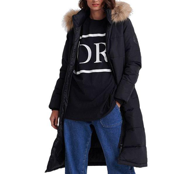 Superdry Womens Longline Quilted Everest Jacket Black