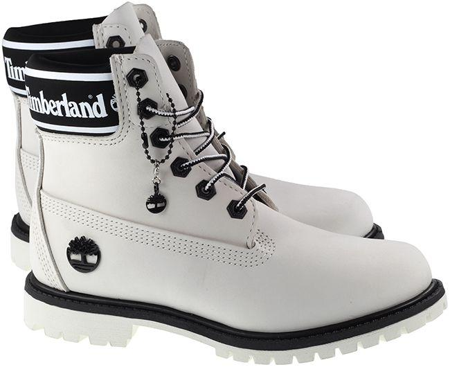 Timberland Boots Womens 6 Inch Logo Collar White