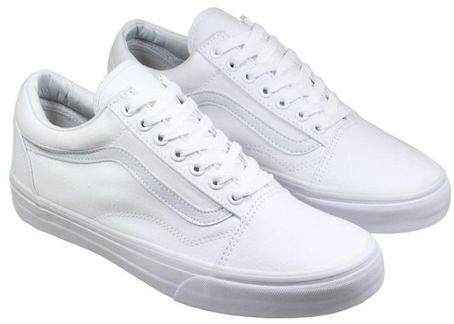 Vans Trainers Mens Old Skool White Canvas