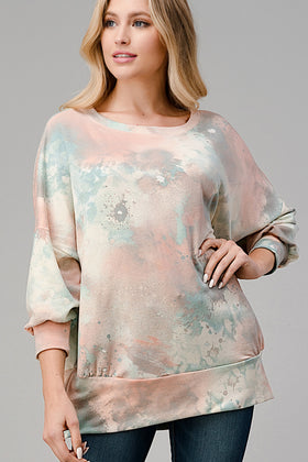 Tie-dye Print French-Terry Puff 3/4 Sleeve Banded Top