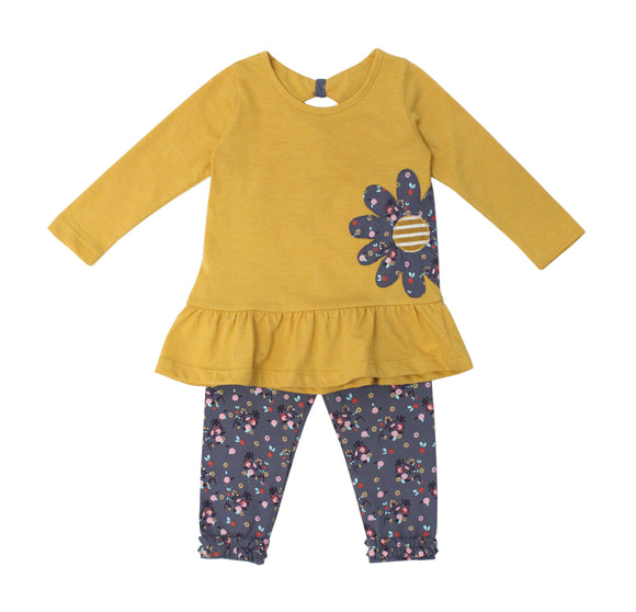 Yellow Floral Applique Set W/Printed Leggings