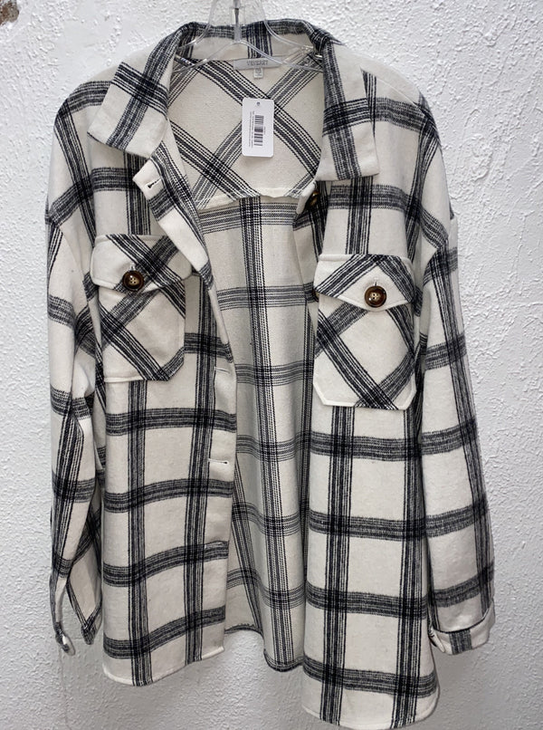 PLAID BUTTON DOWN BRUSHED JACKET
