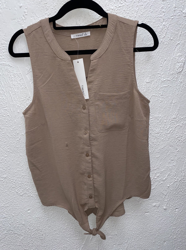 SLEEVELESS BUTTON UP TOP W/TIE FRONT