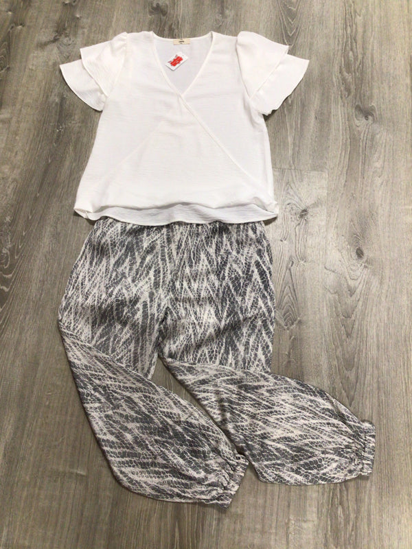 Black & Off White Print Joggers