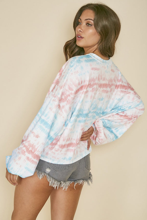 TIE DYED LS KNIT TOP