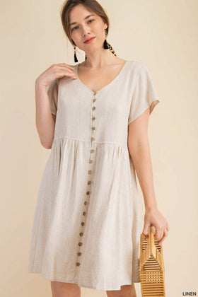 LINEN BLEND V-NECK BUTTON FRONT DRESS