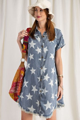 STAR PRINTED WASHED SHIRT TUNIC DRESS