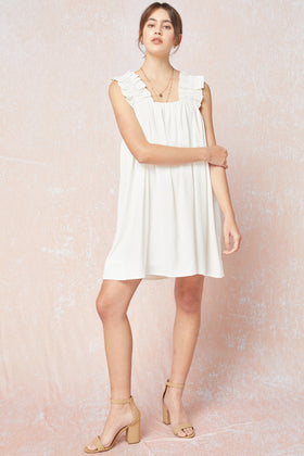 Solid Square Neck SL Dress W/ Ruched Straps