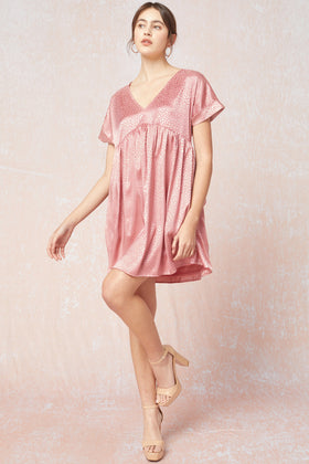Satin spotted V Neck Baby Doll Dress W/Pockets