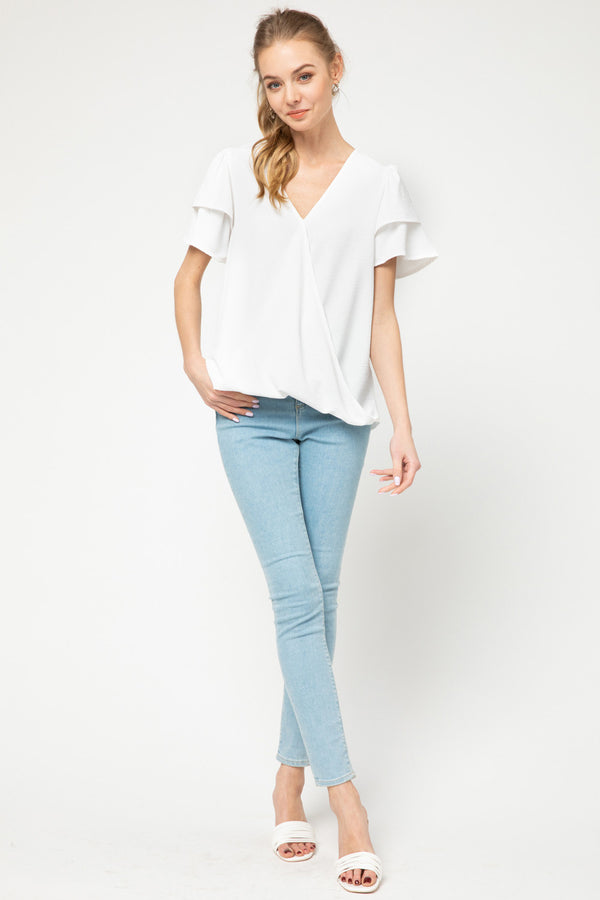 Solid V Neck Surplice Top W/Ruffle Detail Sleeve