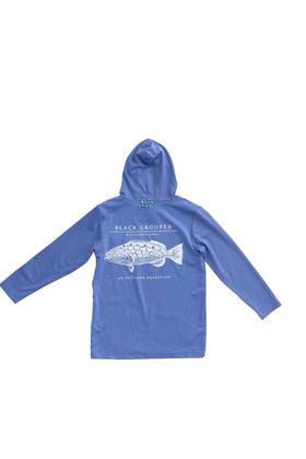 GROUPER PERFORMANCE HOODIE T-SHIRT IN SEA URCHIN BLUE