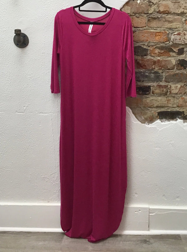 3/4 Sleeve Maxi Dress W/ Slit Both Sides