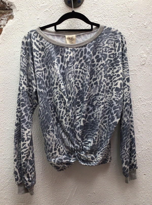 Ivory/Charcoal/H.Grey LS Multi Animal Twisted Top