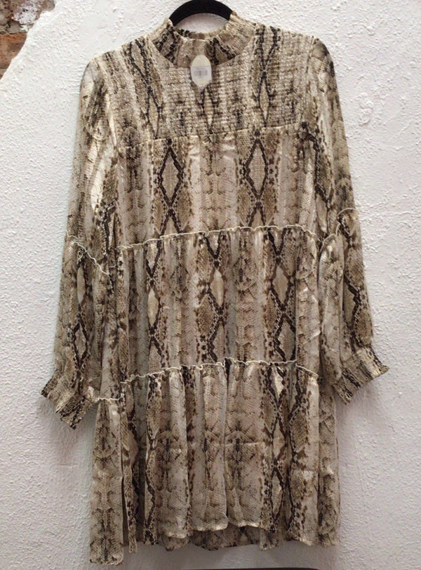 Taupe Python Print Tiered LS Dress W/Smocked Bodice Detailing