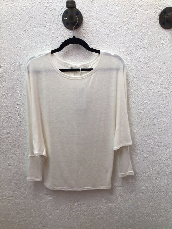 Stacie Branded Knit Top Off White