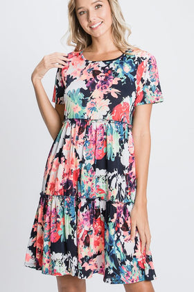 SS ROUND NECK MULTI COLOR FLORAL PRINT DRESS