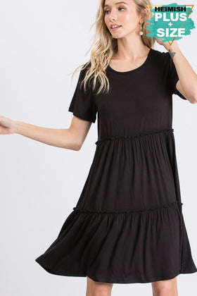 SHORT SLEEVE ROUND NECK SOLID DRESS WITH RUFFLED DETAIL