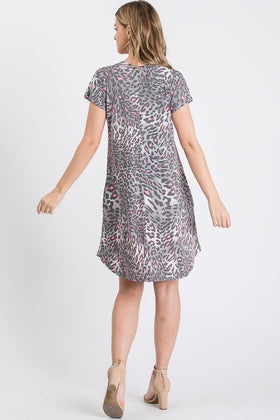 SS V NECK ANIMAL PRINT DRESS W/POCKETS
