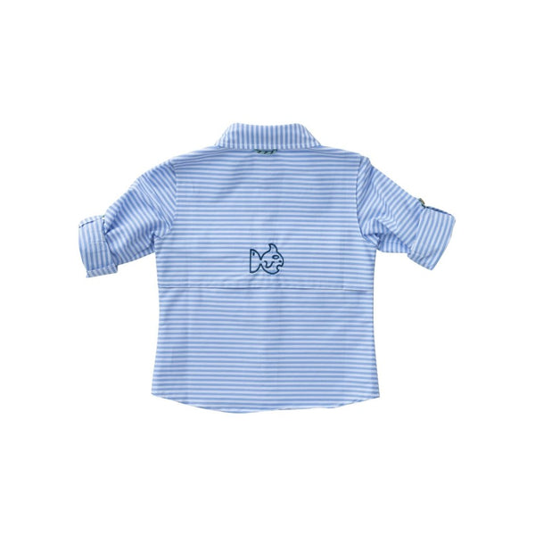 LONG SLEEVE PERFORMANCE POLO IN BLUE LIGHT STRIPE