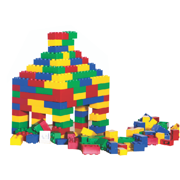 Basic Plastic Building Blocks - Small Assorted in 10L Round Container