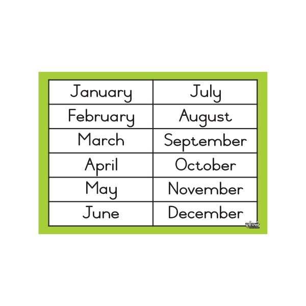 Months of the Year - A3