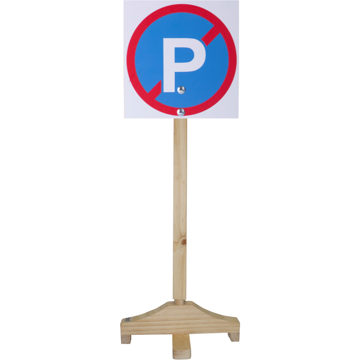 No Parking - Sign and Wooden Pole