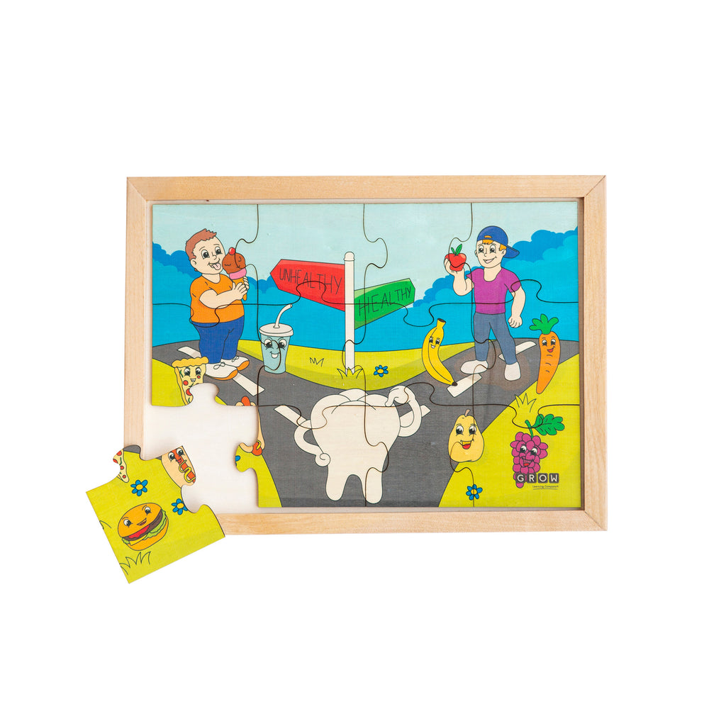 Eating Healthy & Unhealthy Foods 12 Piece Puzzle (box)