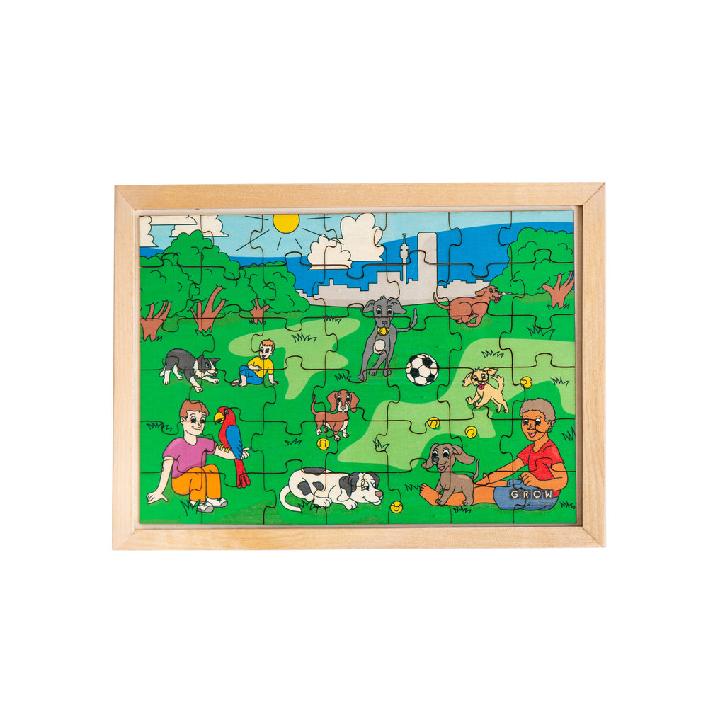 Dogs in the Park 42 Piece Puzzle (tray)