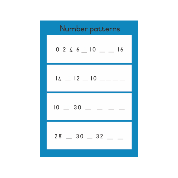 Wall Chart Number Patterns - A3