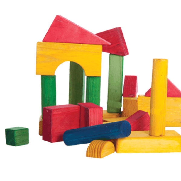 Wooden Blocks - Medium Coloured in Black Utility Crate