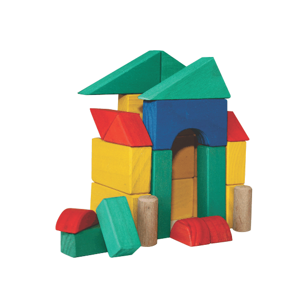 Wooden Blocks - Small Coloured in 10L Round Container