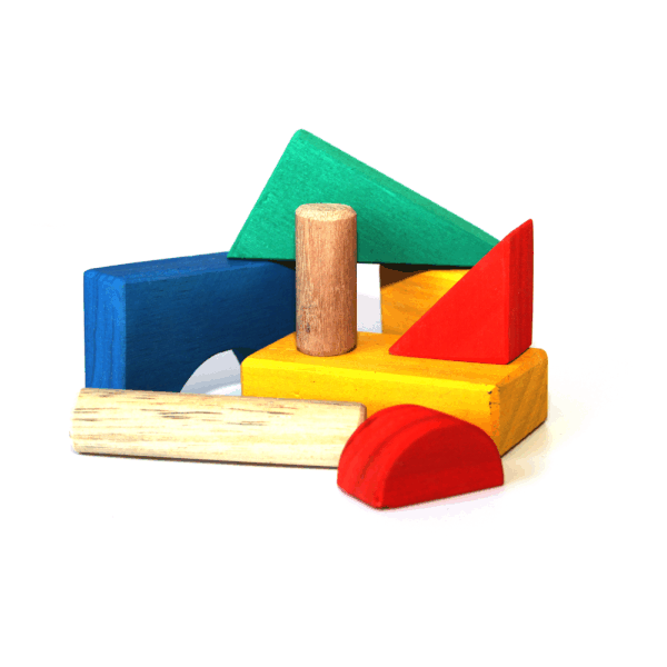 Wooden Blocks - Small Coloured in 5L Round Container