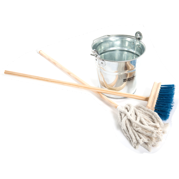 Wooden Broom and Mop Set  and Bucket