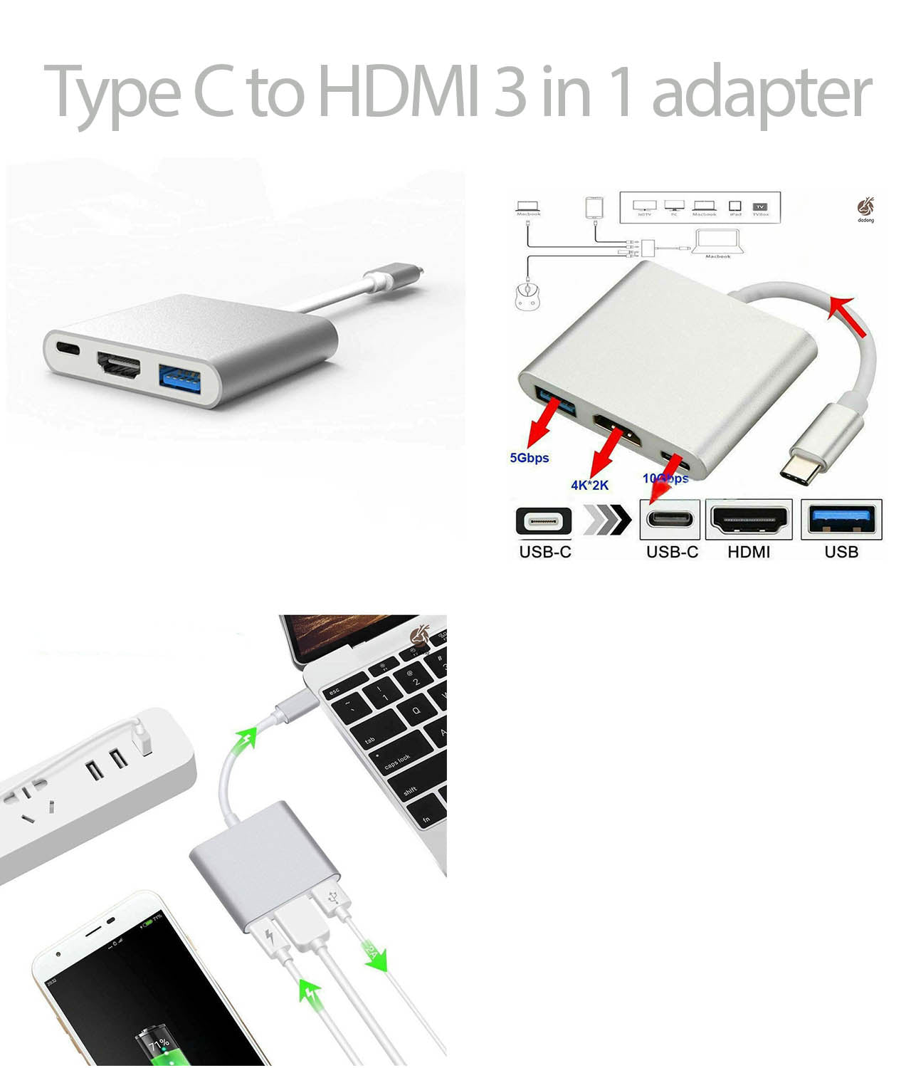 Type C to HDMI 3 in 1 Adapter