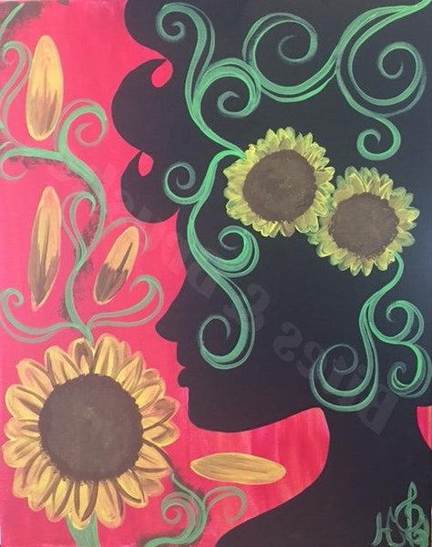 Sunflowers Silhouette Sip And Paint DIY Kit With Instructional Video