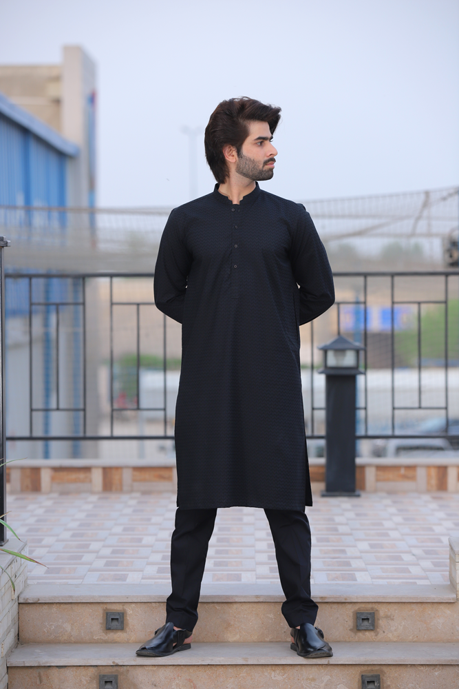 Black Textured Kurta
