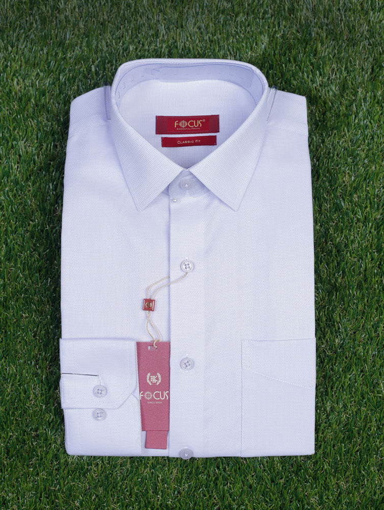 White Self Textured Dress Shirt