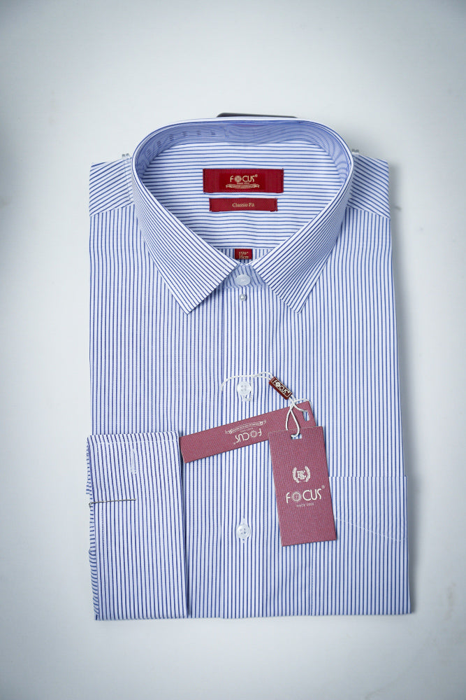 Lining White Blue Dress Shirt DOUBLE CUFFS