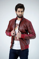 Real Cow Leather Biker Jacket Red