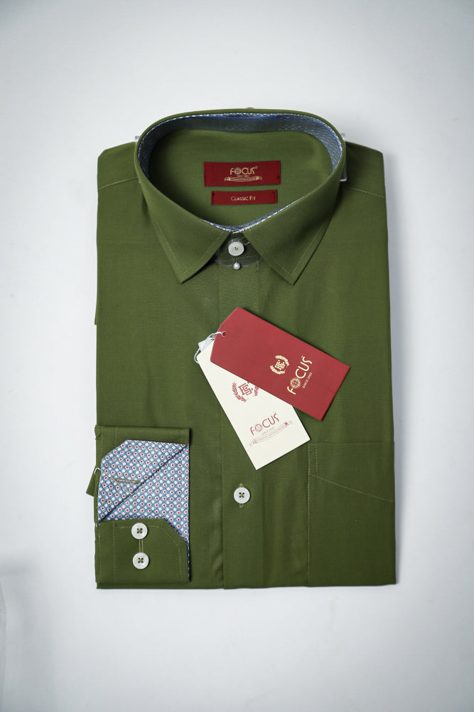 Contrast Inside Mustang Green Dress Shirt