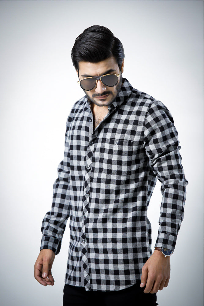 Flannel Black Grey Casual Shirt