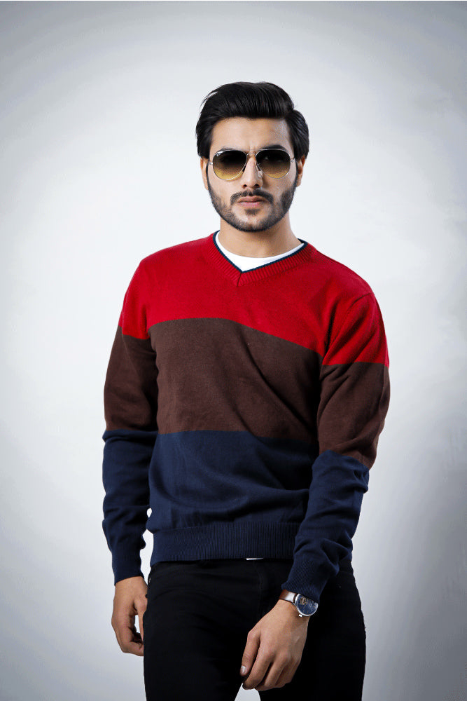 V-Neck 3 Color British Sweater