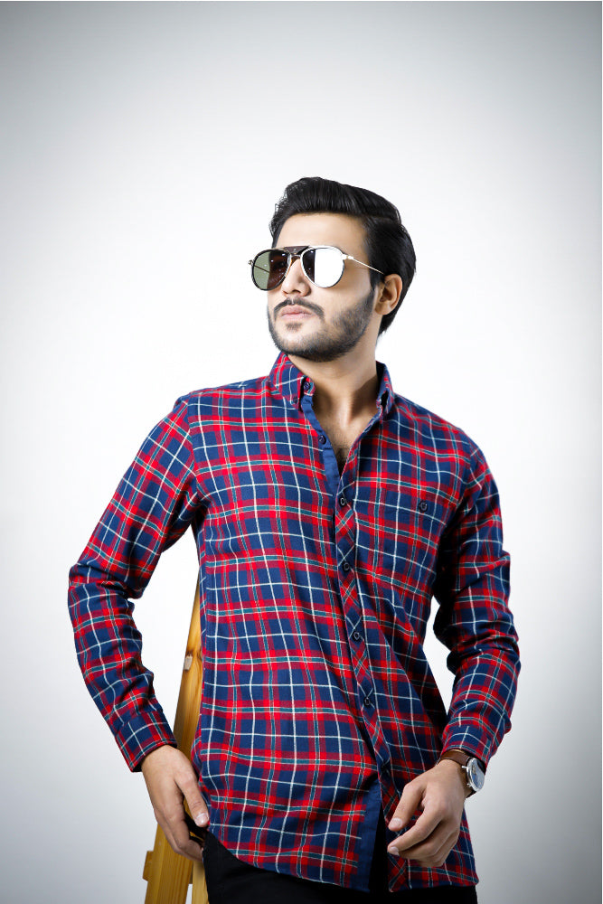 Flannel Red Blue Check Casual Shirt