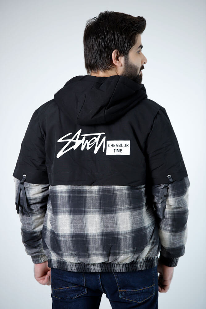 Flannel hood jacket Grey