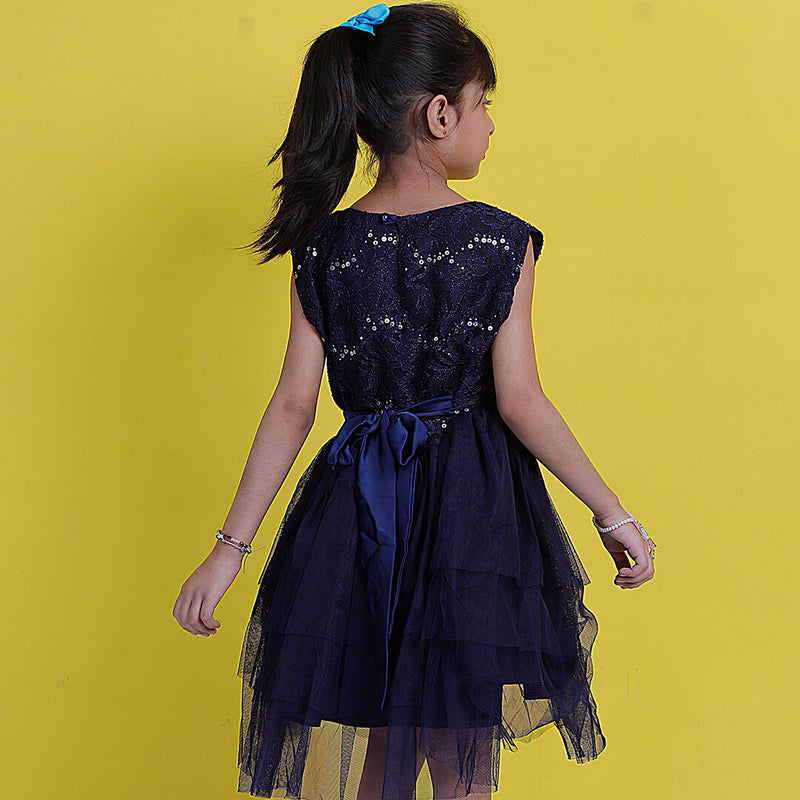 Black Net Frock - Mini Girls