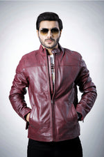 Real Cow Leather Biker Jacket Burgundy